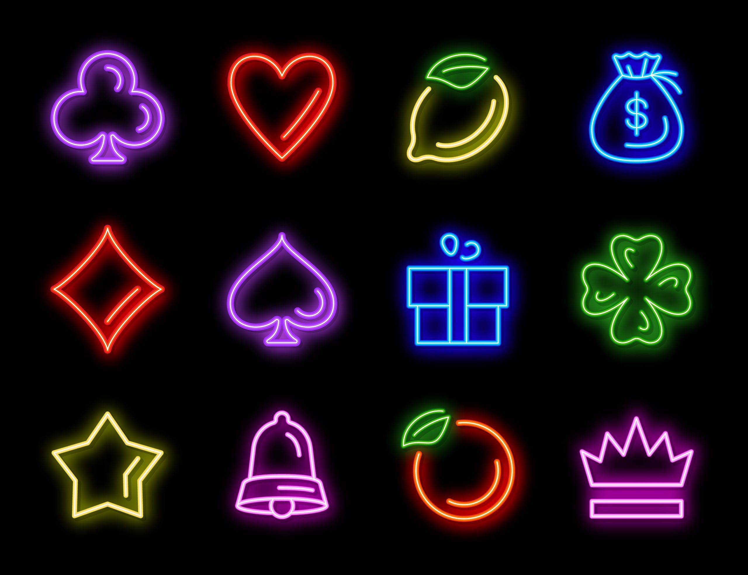 Slot machine neon icons
