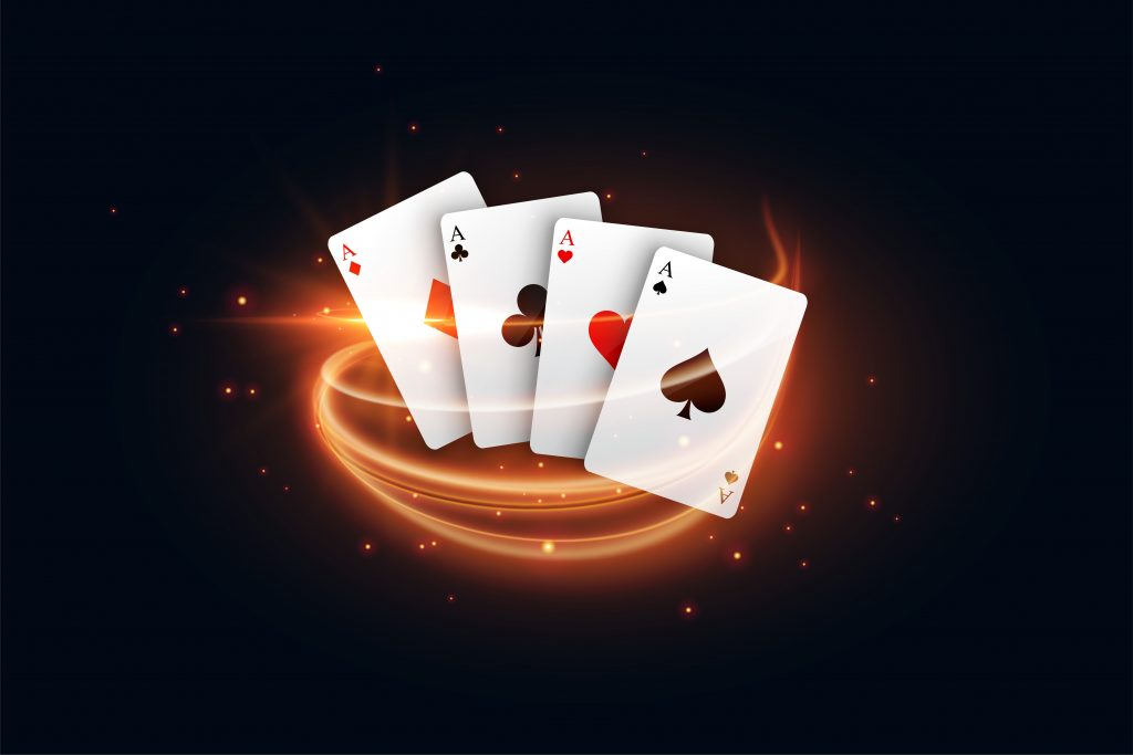 Casino playing cards with golden light streak